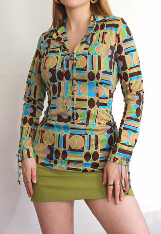 Vintage 70's Psychedelic Print Collared Long Sleeve Top