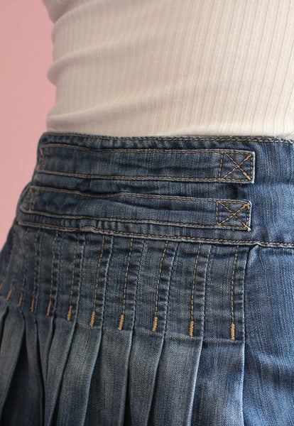 Y2K Pleated Denim Skirt