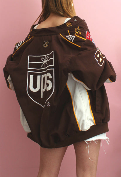 Vintage Brown & White Chase Authentics Racing Jacket
