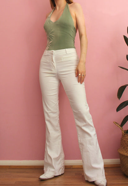 Y2K White Flared Trousers