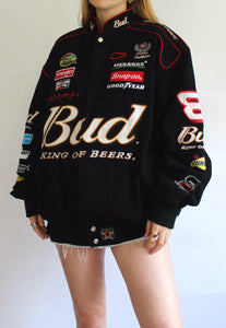 Black JH Design Budweiser Vintage Racing Jacket
