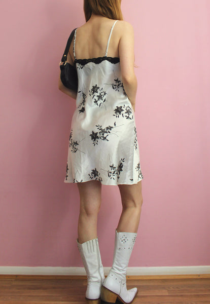 Y2K La Senza White & Black Patterned Slip Dress