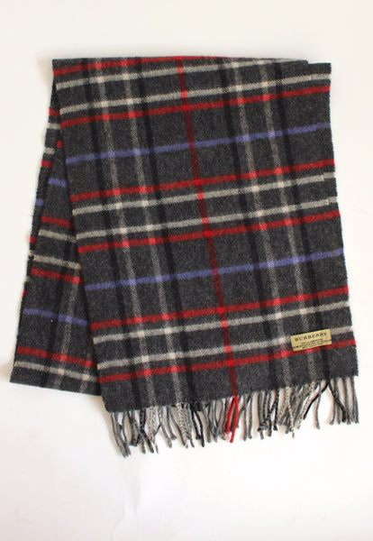 Vintage Burberry Grey Wool Scarf