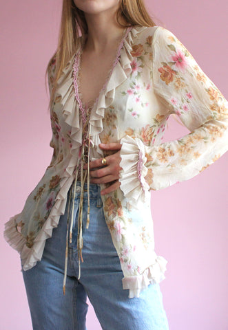Y2K Sheer Floral Tie-Up Blouse