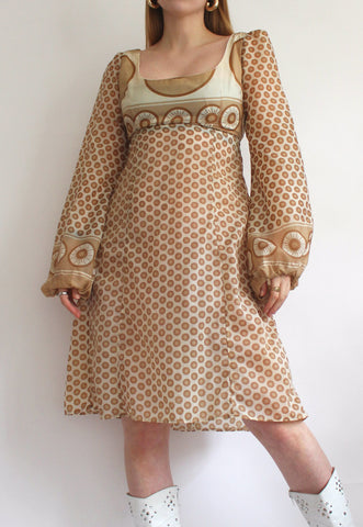 Vintage Cream & Beige Handmade Patterned 60's Dress