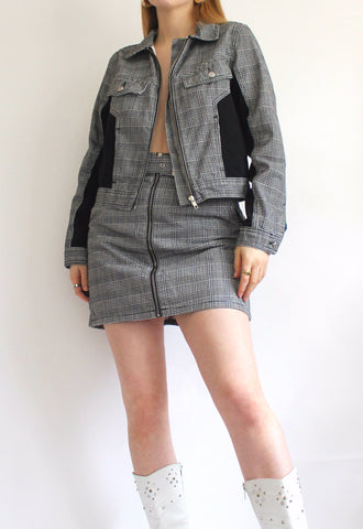 Topshop Sample Grey Check Skirt & Jacket Coord Set