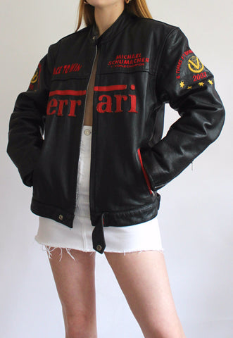 Vintage Black On The Road Leathers Ferrari Racing Jacket