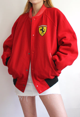 Vintage Red Wool Official Ferrari Racing Jacket
