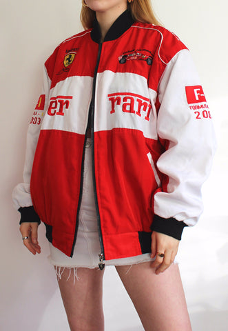 Vintage Red & White Official Ferrari Racing Jacket