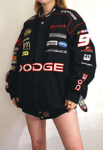 Vintage Black JH Design Dodge Nascar Racing Jacket