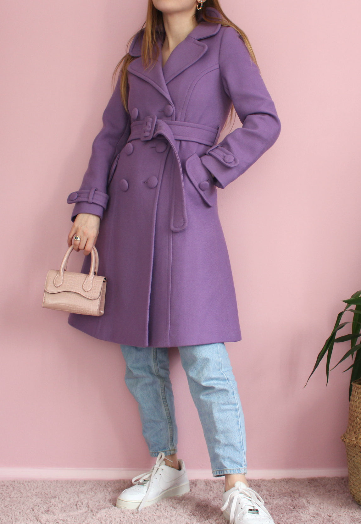 Orla Kiely Purple Wool Coat