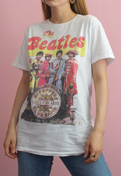 The Beatles White Graphic Tee
