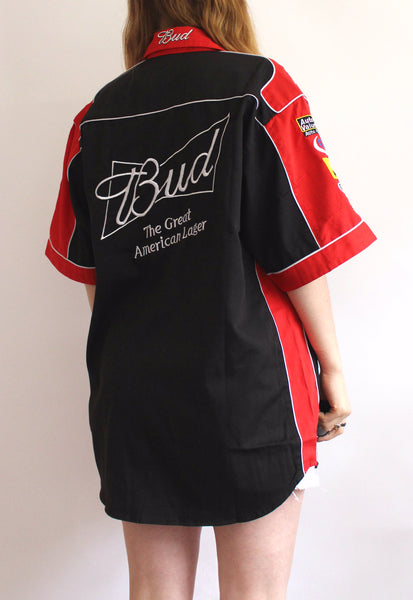 Black & Red Chase Authentics Budweiser Vintage Racing Shirt