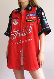Red & Black Chase Authentics Budweiser Vintage Racing Shirt