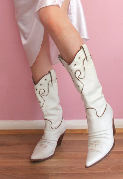 White/Cream Cowboy Western Heeled Boots
