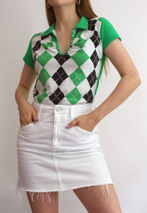 Green Argyle Collared T-Shirt