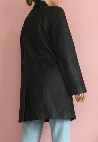 Black Leather Longline Jacket