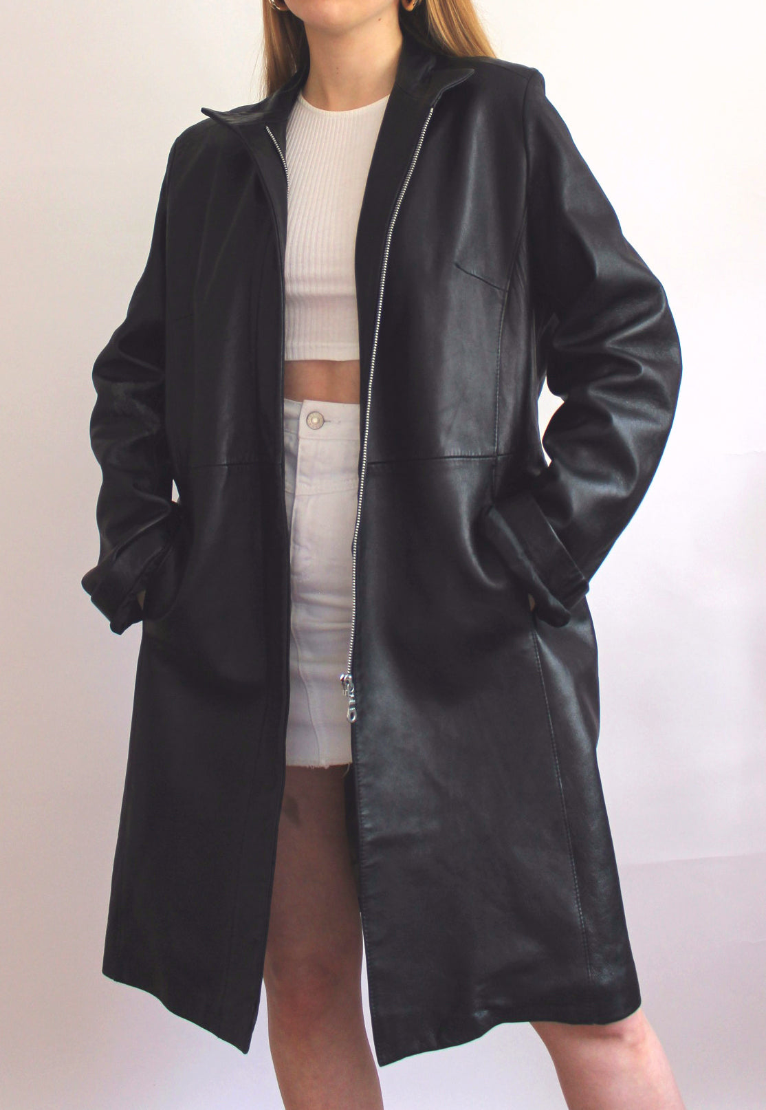 Black Real Leather Zip Front Long Jacket