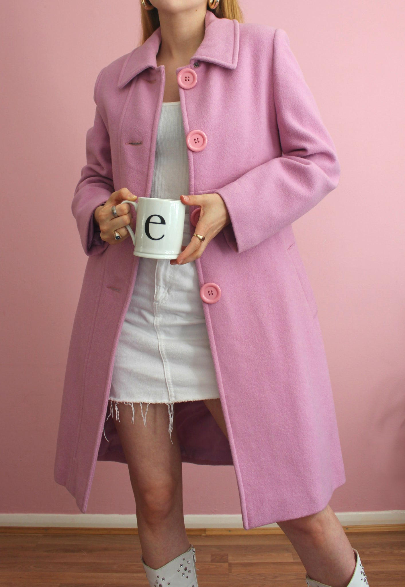 Pink Long Wool Blend Coat