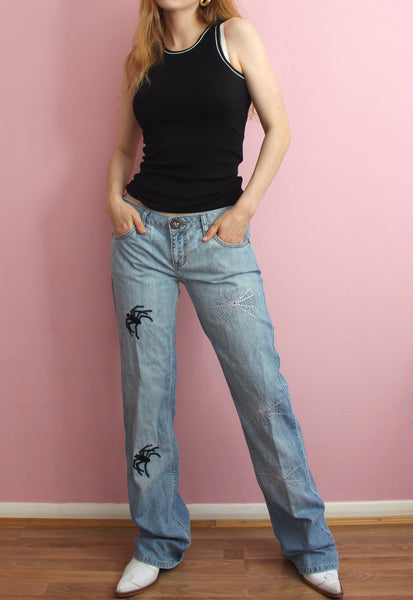 D&G Blue Spider Design Straight Leg Jeans