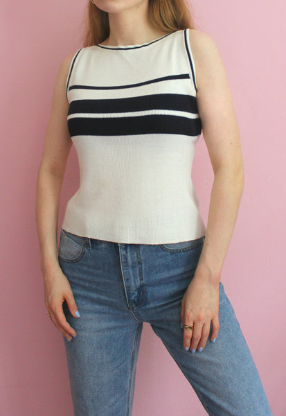 Cream knitted Sleeveless Top With Navy Stripes