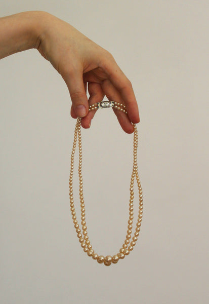 Vintage Champagne Faux Pearl Two Strand Necklace