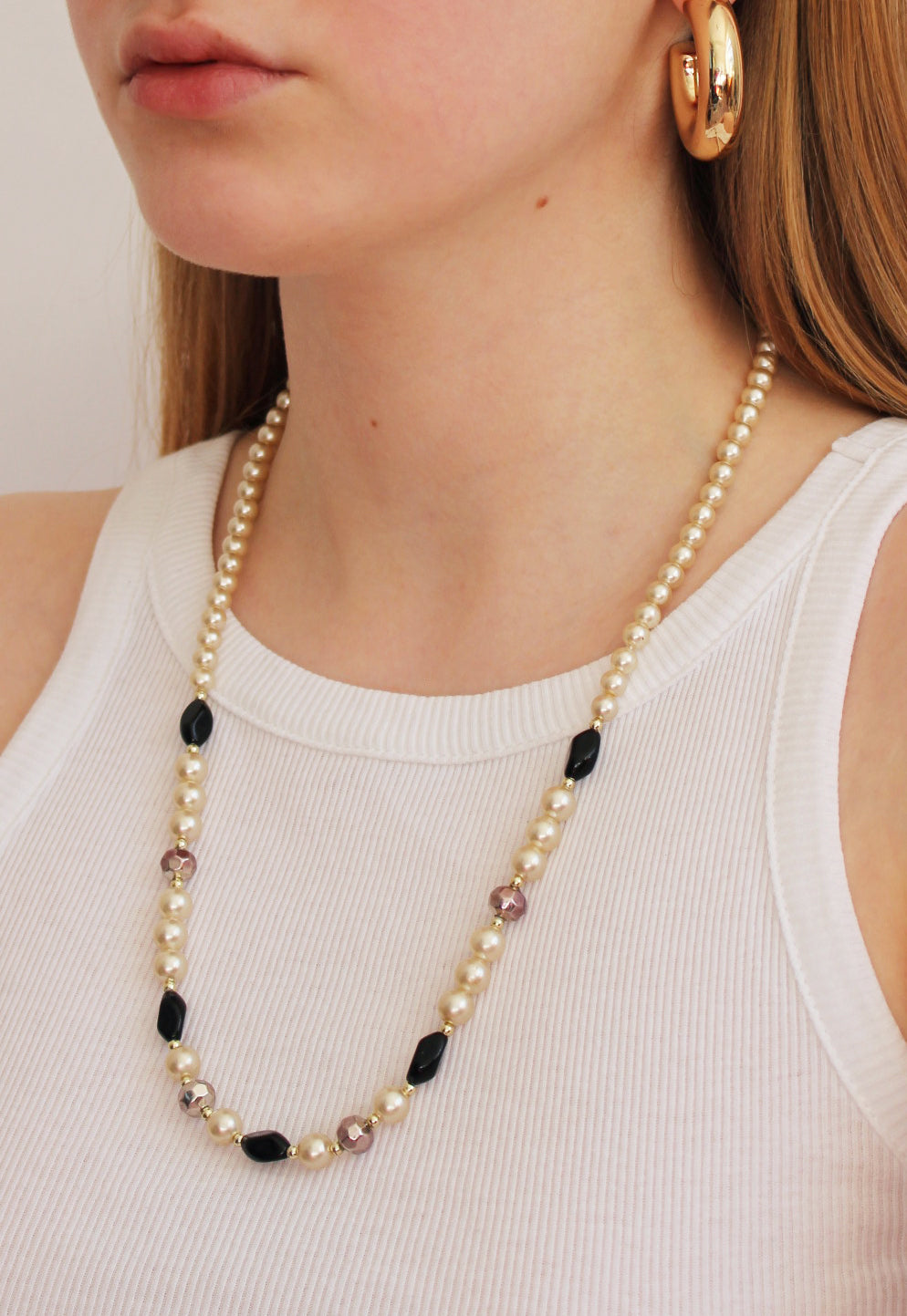 Vintage Long Faux Pearl And Bead Necklace