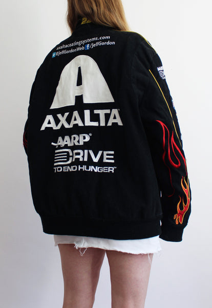 Black JH Design Axalta Flame Sleeve Vintage Nascar Racing Jacket