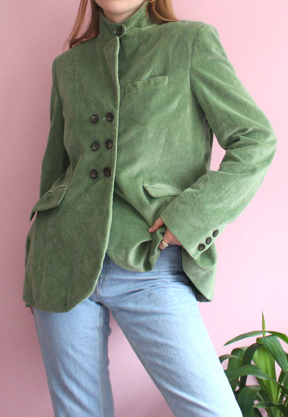 Green Cabbages and Roses Blazer