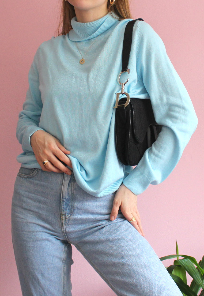 Light Blue High-Neck Jumper