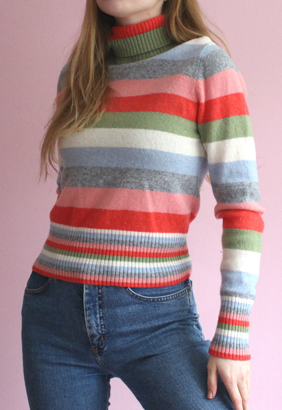 Vintage Pastel Rainbow Striped High Neck Jumper