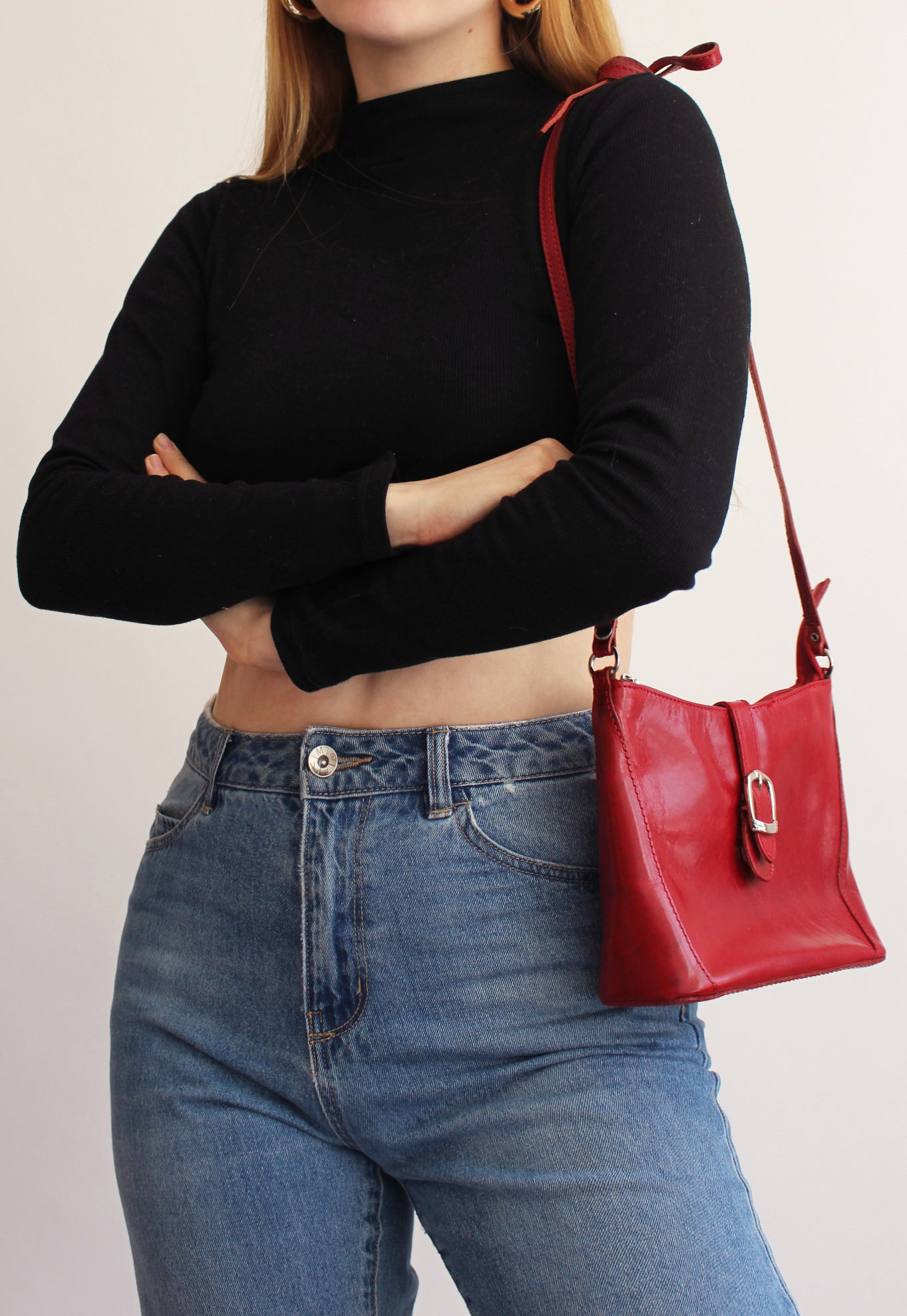 Cherry Red Leather Cross Body Bag