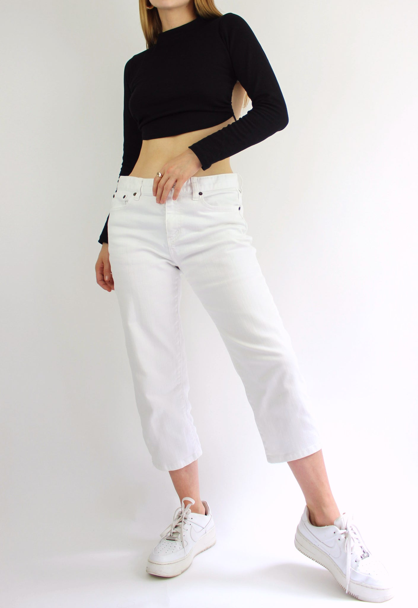 Lauren By Ralph Lauren White Mid-Calf Jeans