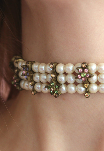 Vintage Three Layered Pearl Choker