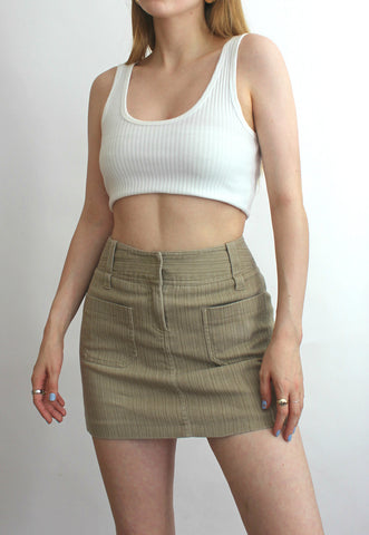 Y2K Beige Corduroy Mini Skirt