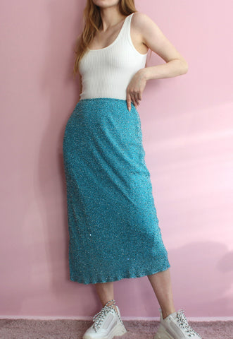 Blue Sparkly Mermaid Midi Skirt