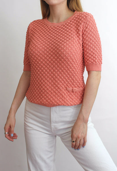 Coral Short Sleeve Knit Sweater