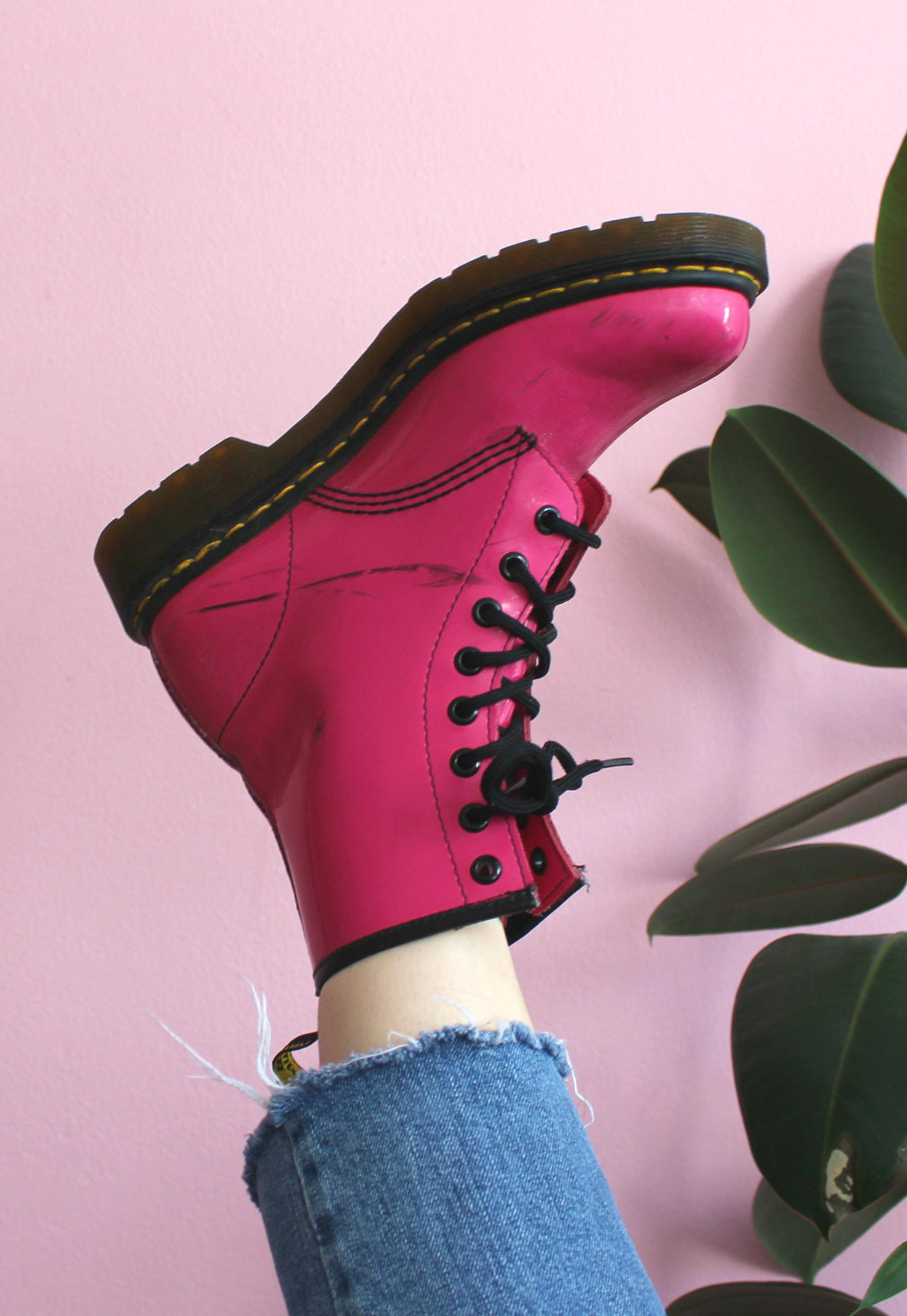Bright Pink Dr Martens Patent Boots