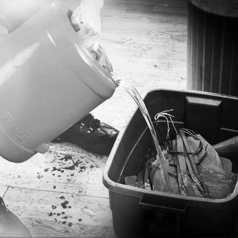 Water is collected from our handmade well in the acreage