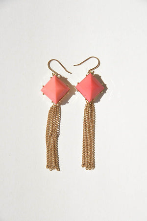 Peach Jewel Style and Gold Chain Fashion Earrings