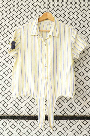 Lemon and Blue Striped Knot Front Cotton Blouse  (Brand:    Rachel )