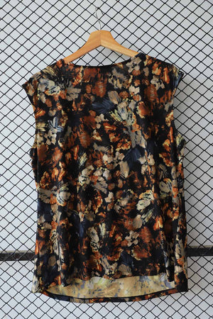 Abstract Print Earthy Pleated Blouse (Brand:    Kasper ) (Small)
