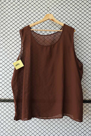 Brown Chiffon Sleeveless Blouse (Extra Large)