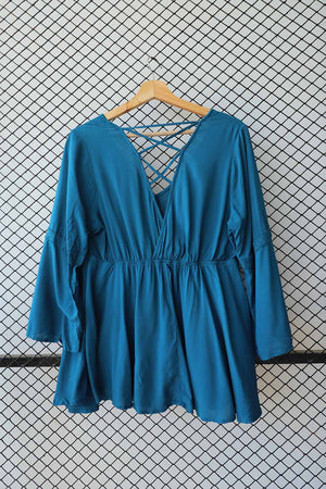 Teal Blue Cut Body Peplum Blouse (Medium)  (Brand:    No Boundaries )