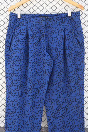 Statement Electric Blue Abstract Pants (Brand: Theory)