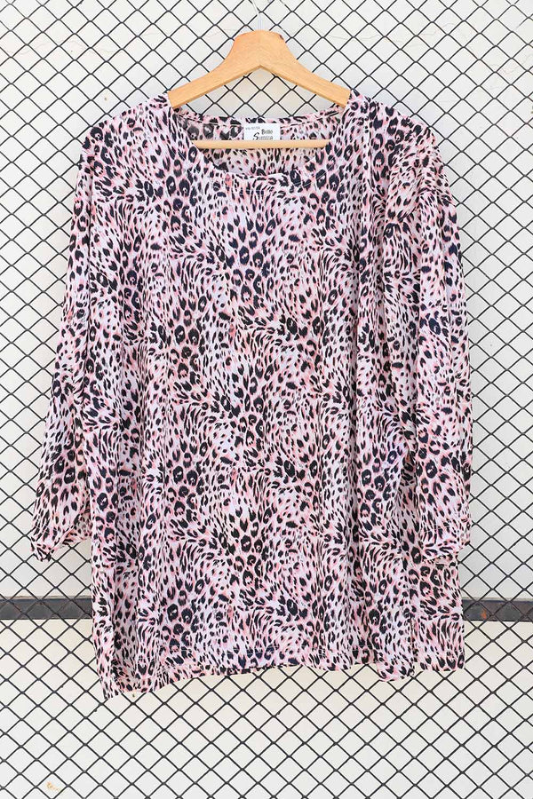 Pink Cheetah Print Fashion Top (Brand: Belle Surprise)
