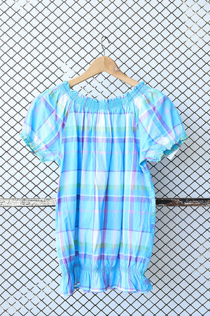 Checkered Retro Chic Bohemian Summer Blouse