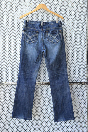 Blue Faded Knee Light Bootcut Jeans