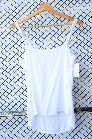 White Cheesecloth Ruffle Strappy Top