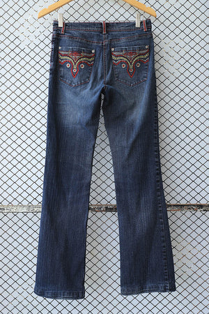 Bootcut Tribal Embroidery Pocket Jeans